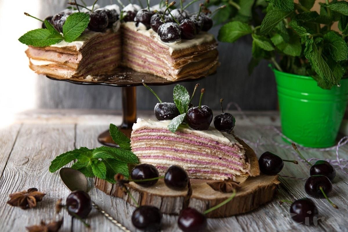 Блинный торт с фруктовым кремом