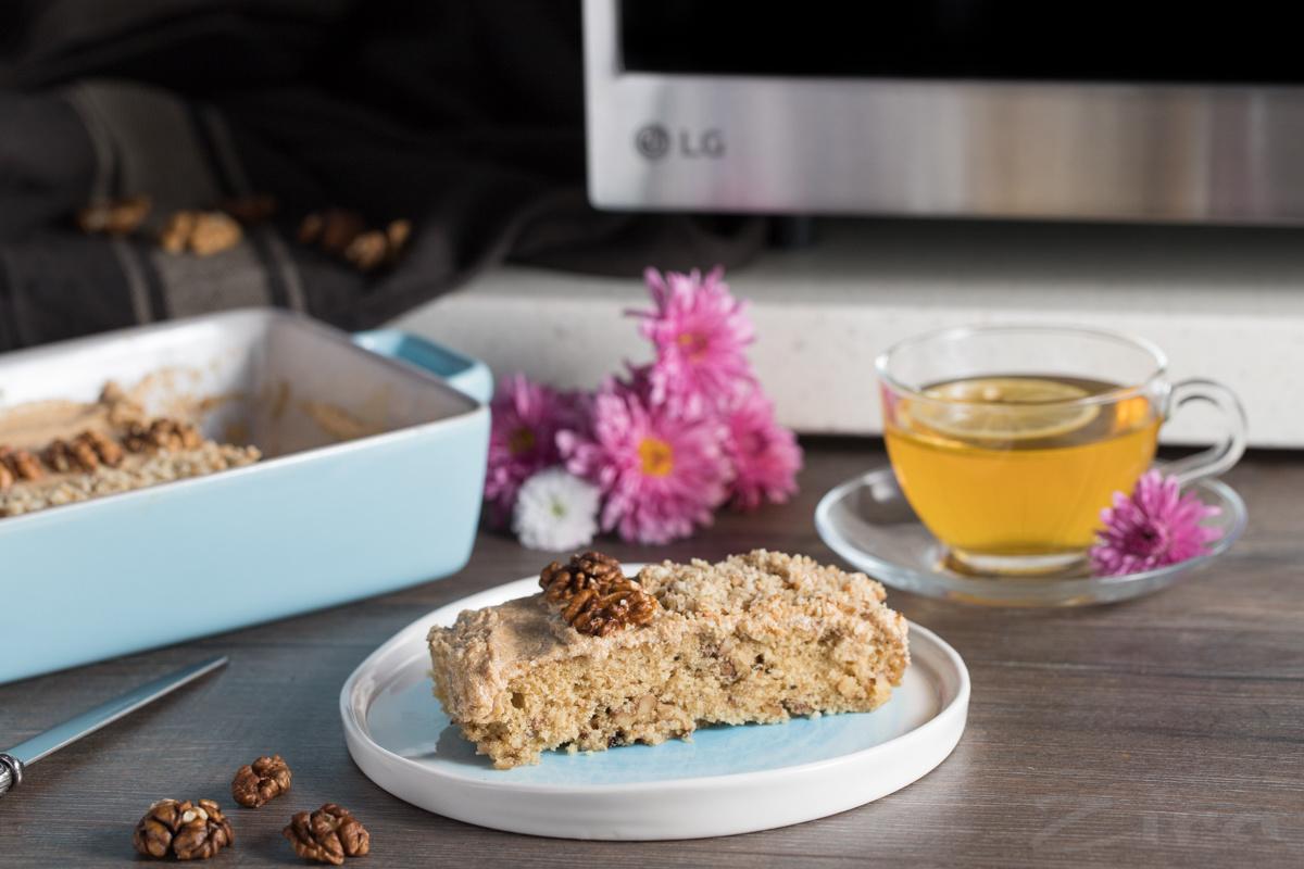 Видеорецепт: кофейно-ореховый торт в микроволновке