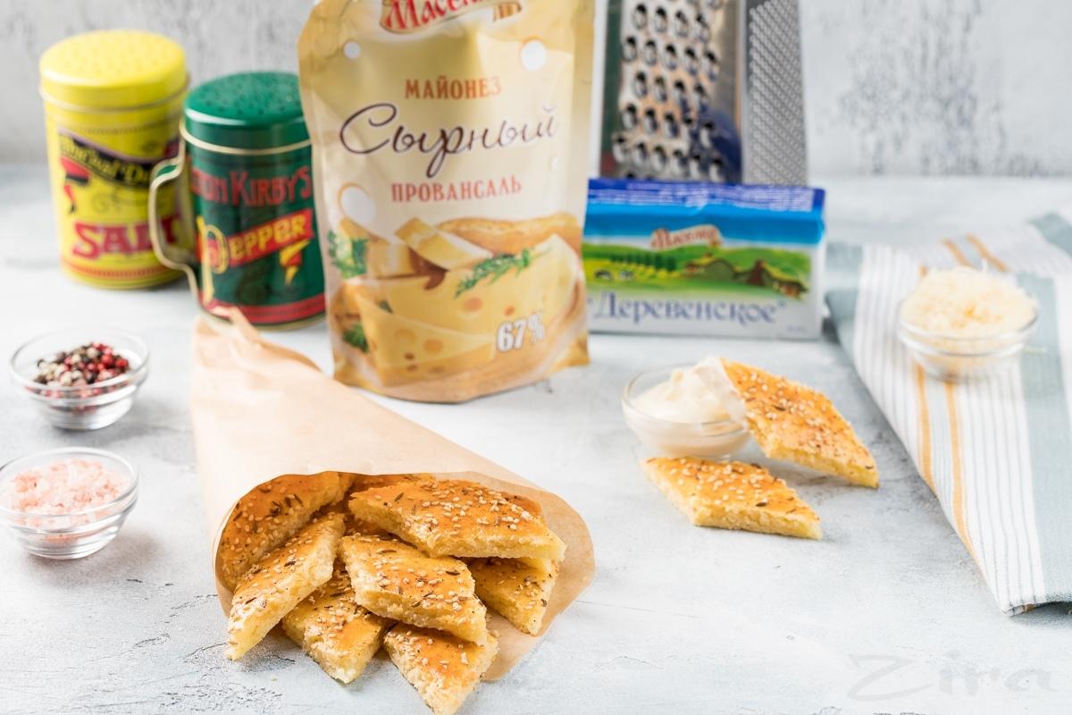 Видеорецепт: сырное печенье на майонезе