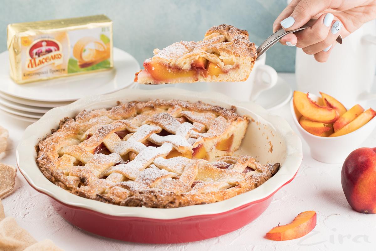 Видеорецепт: персиковый пирог на творожном тесте