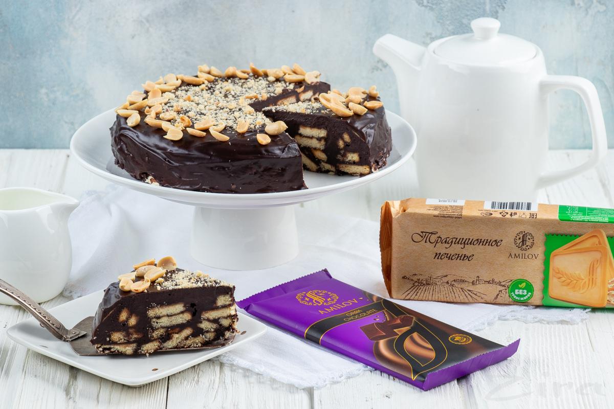 Видеорецепт: шоколадный торт из печенья без выпечки